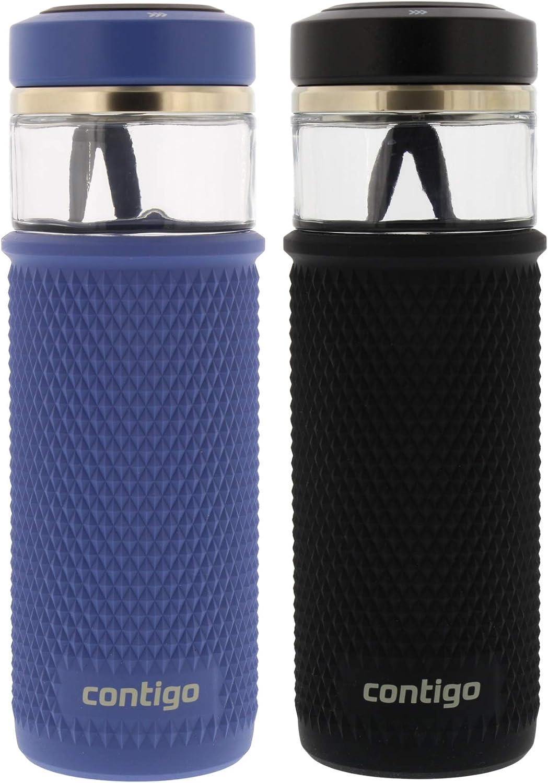 20 oz Contigo Glass Water Bottle with a Quick-Twist Lid Licorice