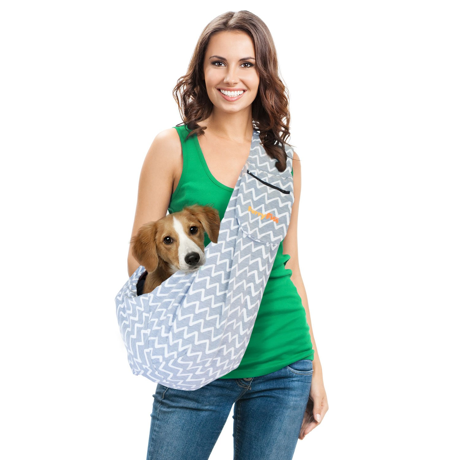 FurryFido Adjustable Pet Sling/dog cat sling Carrier For Cats Dogs Bunny, grey