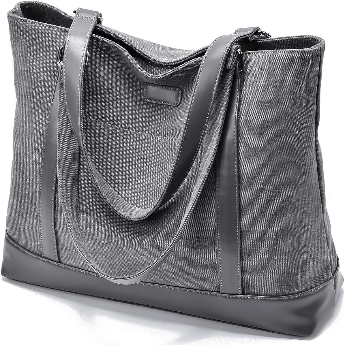 Women Laptop Tote for Work 15.6 Inch Large Canvas Handbag Purse Shoulder Bag