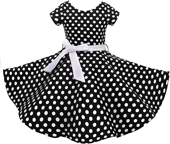 HBBMagic Retro Girls Cotton Dresses with Necklace 1950s Short Sleeve Round Neck Polka Dot Print Dress for Party
