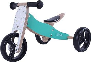 MATTI Bicicleta 2 en 1 Triciclo y bicicleta de madera, vehículo para niños con ruedas de goma, Color:Azul: Amazon.es: Bebé