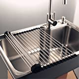 Over the Sink Dish Drying Rack ,17''L x 18.5''W Stainless Steel Foldable Roll-Up Multipurpose Dish Drainer for Kitchen Sink or Counter top (Black)