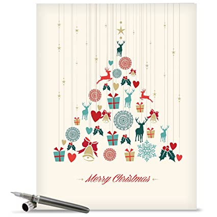 Amazon.com : Merry Christmas Card \'Happy Holidays\' with Envelope ...