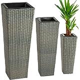 TecTake Set di 3 vasi in polyrattan con inserto grigio
