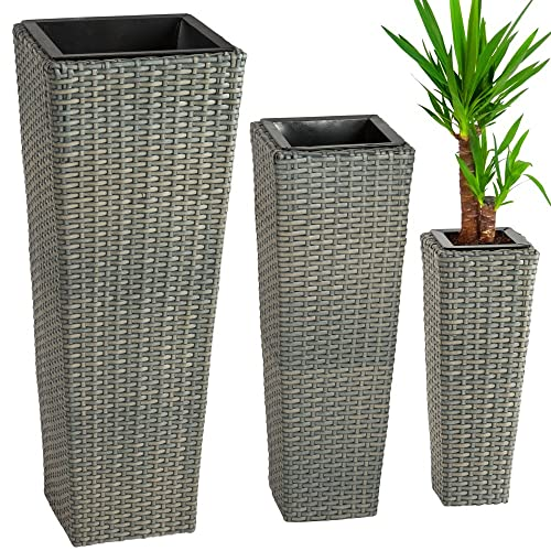 TecTake 3 X Flower Pot Set Rattan Style Tube Planter Grey + 3 Inserts