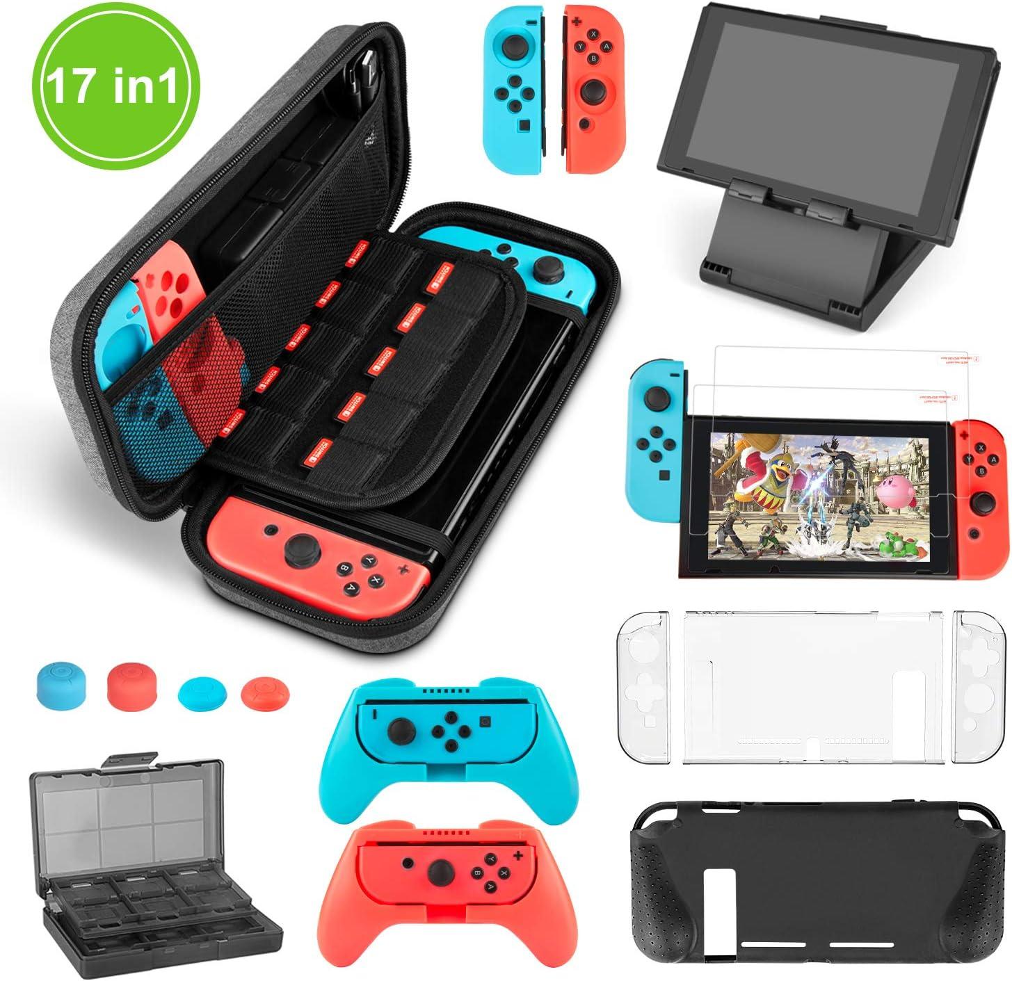 Younikoo Kit Accesorios para Nintendo Switch - Funda con patrón de Hormiga para/Funda Donde caben Tarjetas de Juego/Funda de Silicona/Funda de TPU para/Soporte/Protector de Pantalla HD(17 in 1)