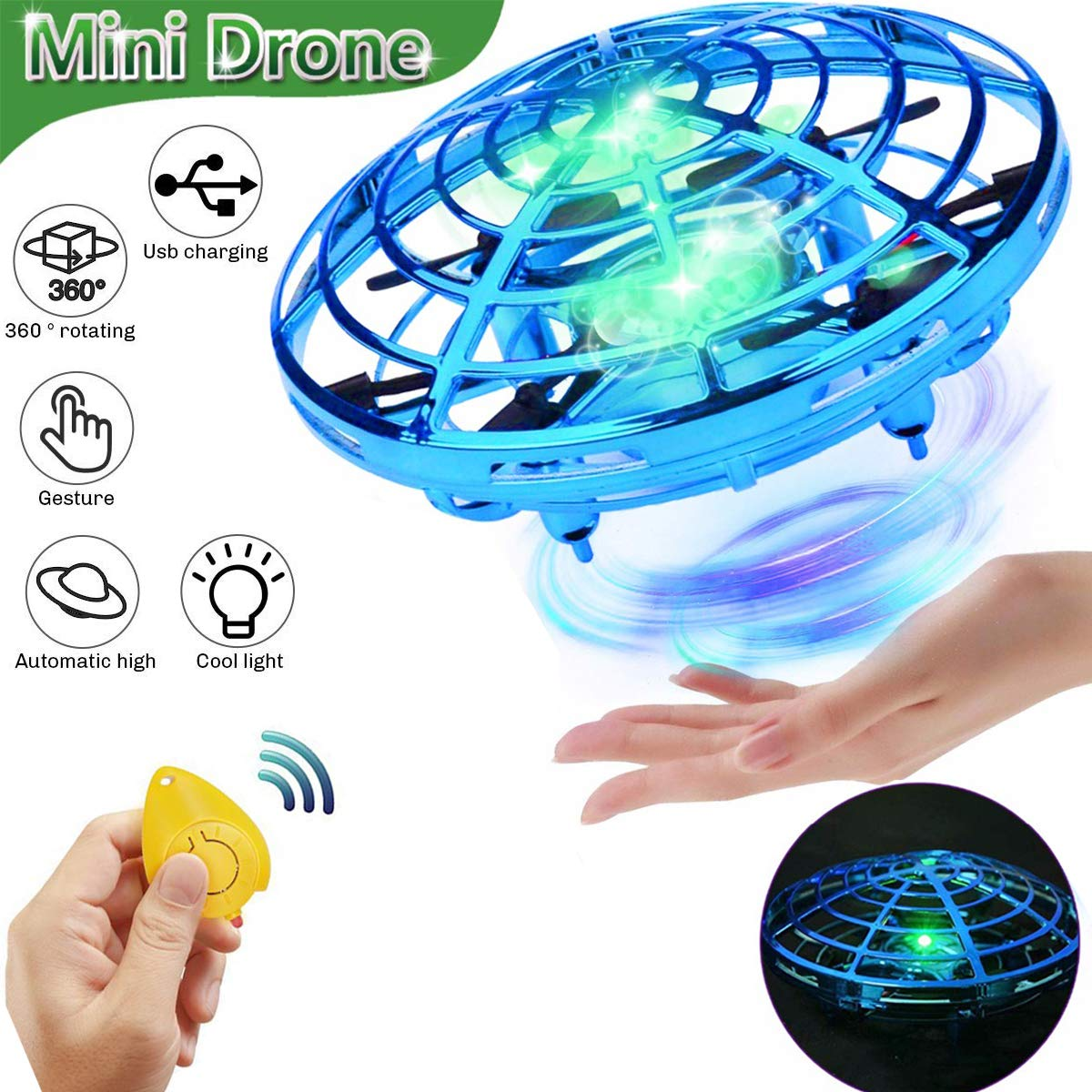 Flying Toy Ball Rc Toys Induction Flying Toy Mini Drones Helicopter Airplane with LED Lights Hand & Remote Controlled for 3+ Kids Girls Boys Indoor and Outdoor Gifts for Birthday (Flying Ball UFO) by HDsuit (Image #1)