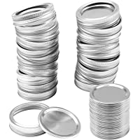 Resinta 20 Pack Regular Mouth Mason Jar Split-Type Lids with Silicone Seals Rings Mason Storage Solid Caps (Includes Lid and Band) (20, Regular Mouth)
