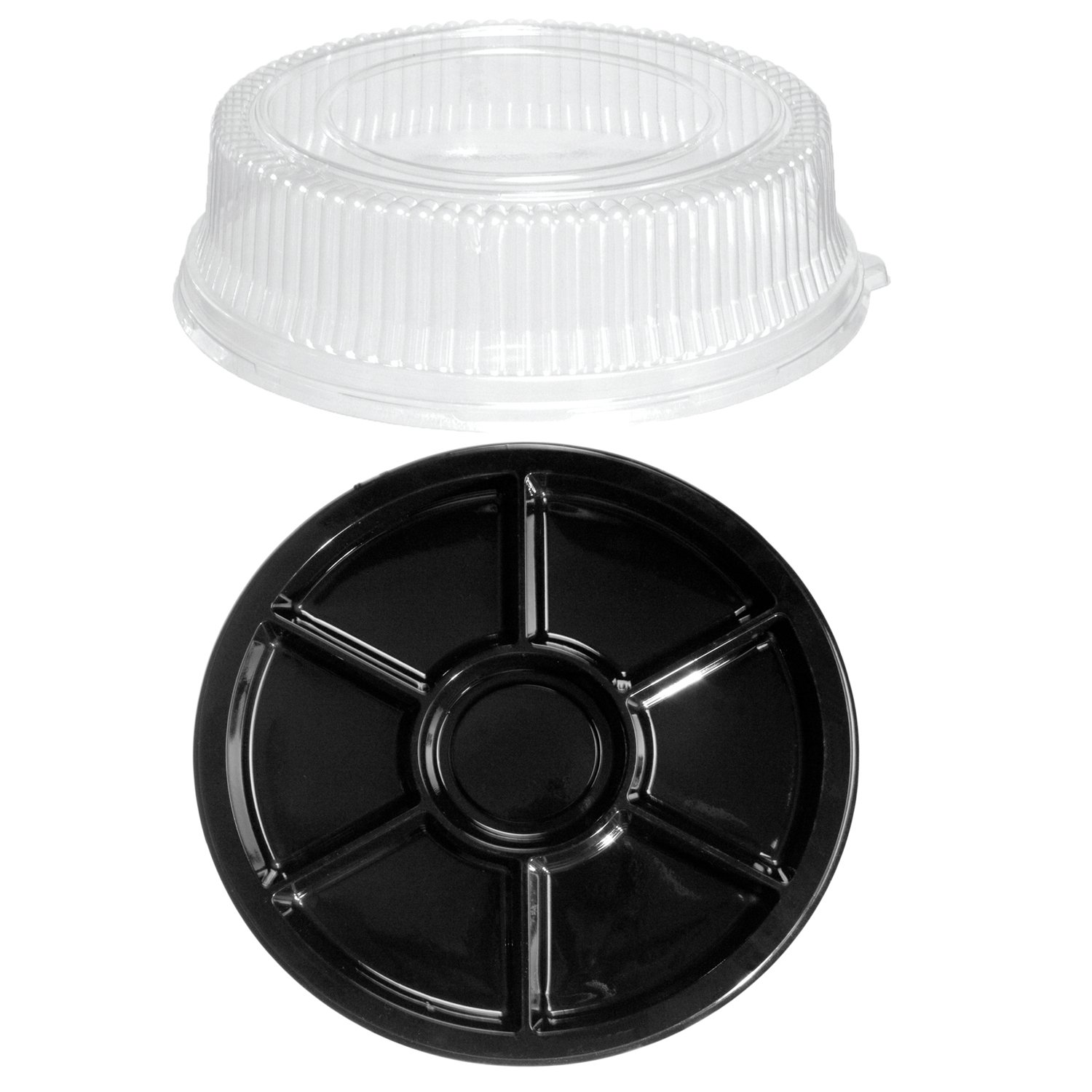 Party Essentials N012321 Soft Plastic 12-Inch Round Divided Serving/Catering Trays, Black with Clear Dome Lids, Set of 2