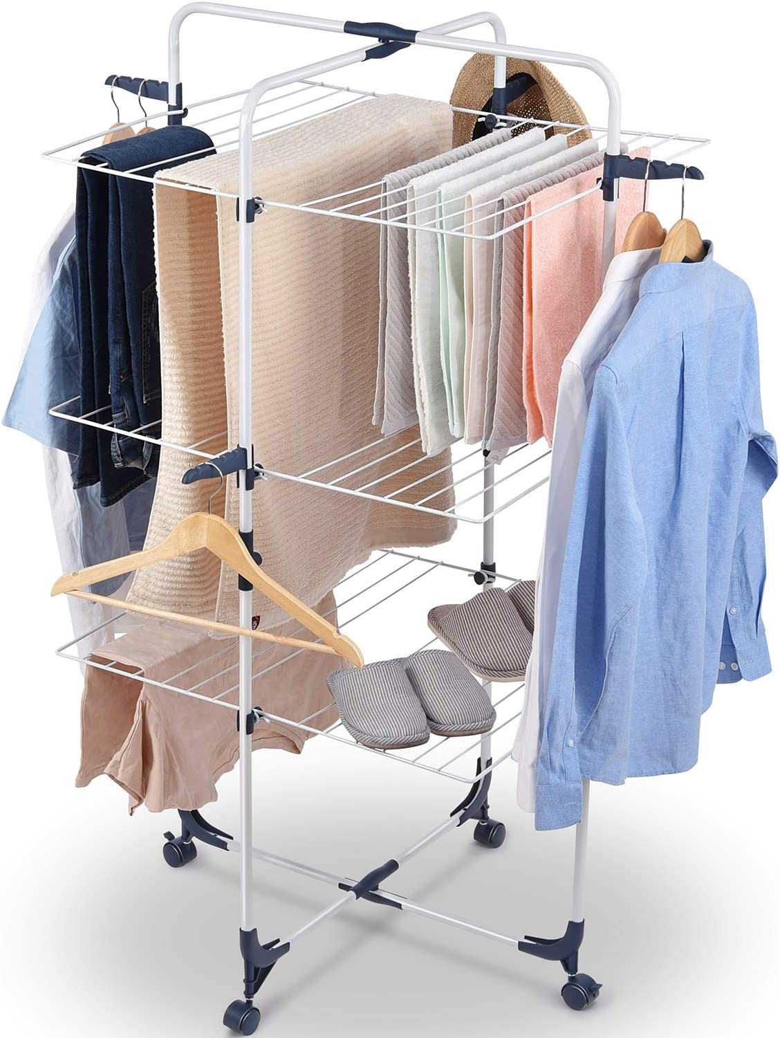 TOOLF Clothes Drying Rack, 3-Tier Collapsible Laundry Rack Stand Garment Drying Station with Wheels and 4 Hooks, Indoor-Outdoor Use, for for Bed Linen, Clothing, Socks, Scarves