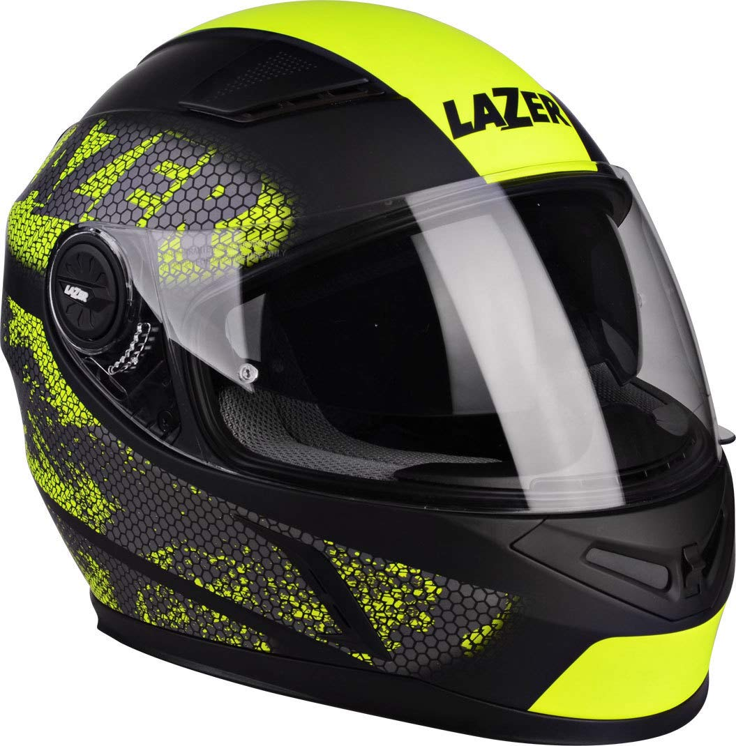 Lazer MLE038170121L Bayamo Nanotech Casco De Moto Integral, Negro/Amarillo Fluo/Matt, Talla XL: Amazon.es: Coche y moto