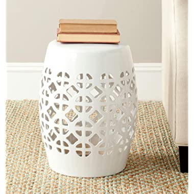 Safavieh Castle Gardens Collection Circle Lattice White Ceramic Garden Stool
