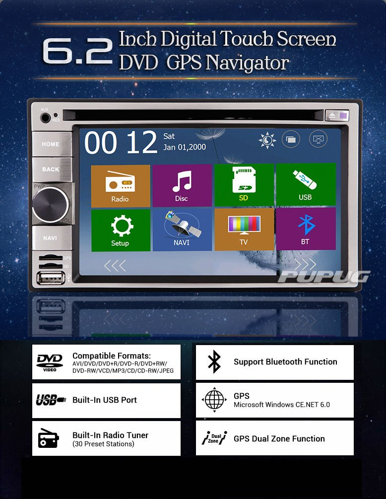 Cš¢mara universal En Dash 7 pulgadas de coches estšŠreo USB Audio Navigation Micrš®fono Bluetooth GPS iPod Doble 2 Din pantalla tš¢ctil del coche DVD Video ...