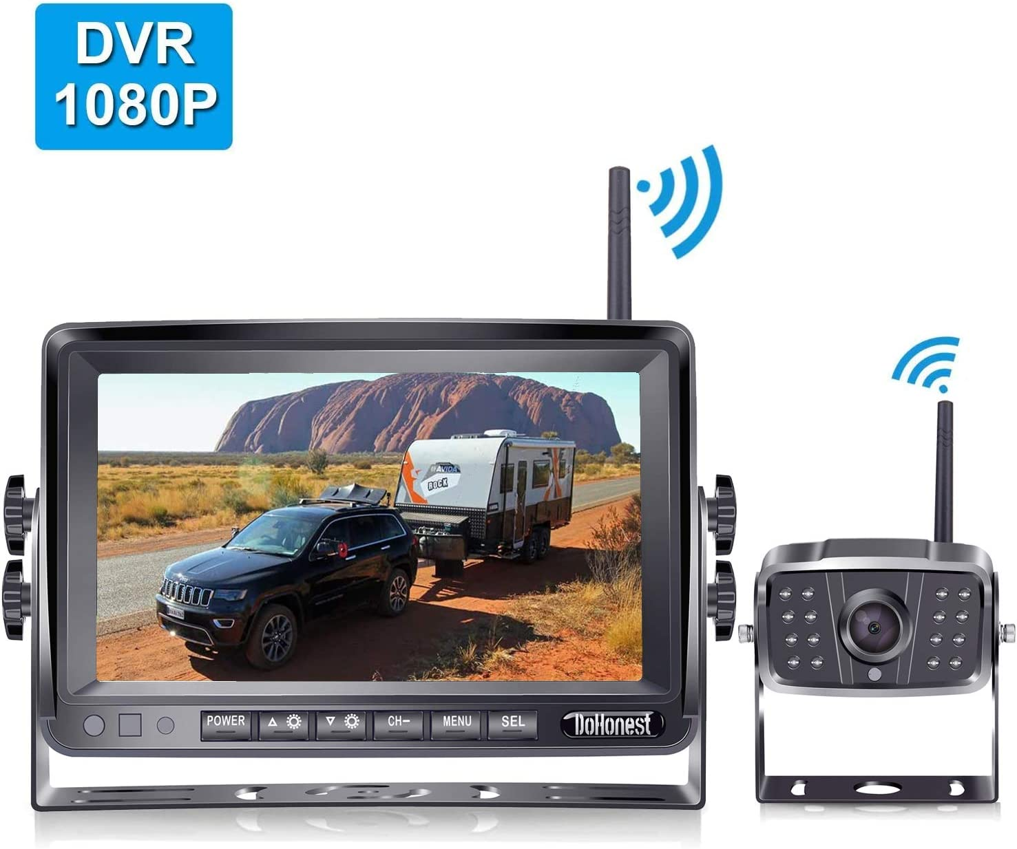 FHD 1080P Digital Wireless Backup Camera and 7'' DVR Monitor Support Dual/Quad Split Screen for Trailers,Trucks,RVs,5th Wheels Highway Observation System IP69K Waterproof Guide Lines On/Off