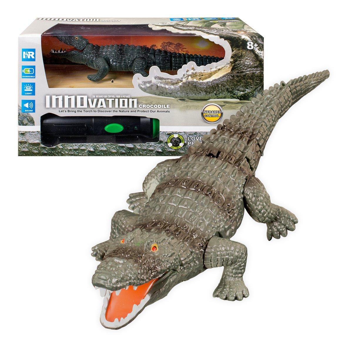 Global Gizmos 138.836, 4 cm batteriebetrieben Infrarot Taschenlampe Fernbedienung Krokodil Lichter und Sound Spielzeug Benross 54660