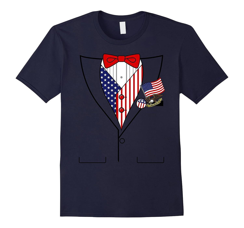 American Flag Patriotic Pins Tux Costume Graphic T-Shirt-Rose