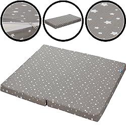 Enclos Matelas 90x 100cm (100% coton) pour parc bébé/enfant Lit étoiles