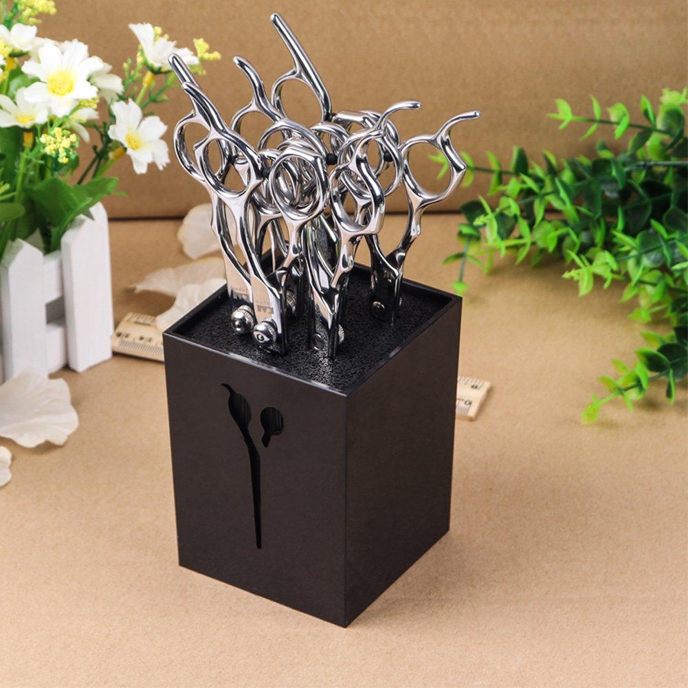 Ozzptuu Creative Acylic Salon Scissors Holder Box Hairdressing Combs Clips Organizer Rack for Hair Stylist (Black)