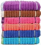 Casa Copenhagen Linea 650 GSM Ribbed Zero Twist Cotton Hand Towel (Multicolour, 40.64 cm x 60.9 cm)-Set of 6 Pieces