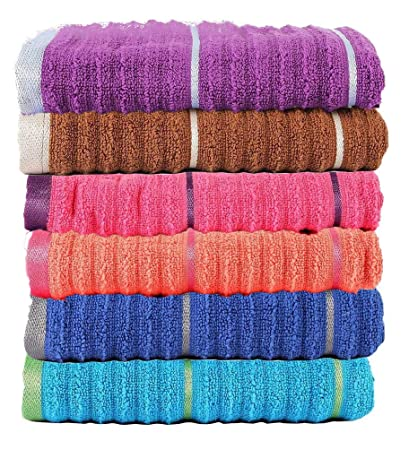 Casa Copenhagen Linea 650 GSM Ribbed Zero Twist Cotton Hand Towel (Multicolour, 40.64 cm x 60.9 cm)-Set of 6 Pieces