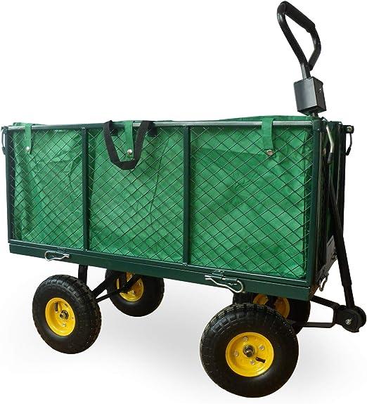 KCTK 5060502533937 - Remolque Extra Grande para jardín con Forro, 102 x 54 x 15 cm, Color Verde: Amazon.es: Jardín