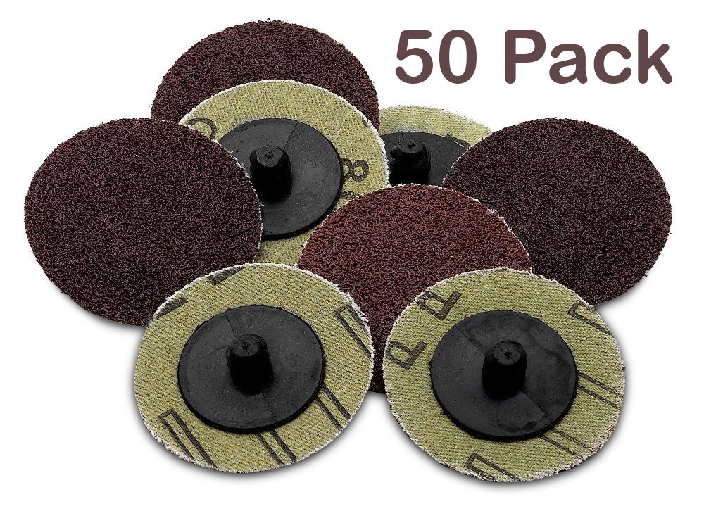 Roll Lock Sanding/Grinding Discs -50 Pieces - 2 inch 36 Grit -For Use With Drill/Die Grinder; For Any Surface Prep Or Finishing Job - By Katzco