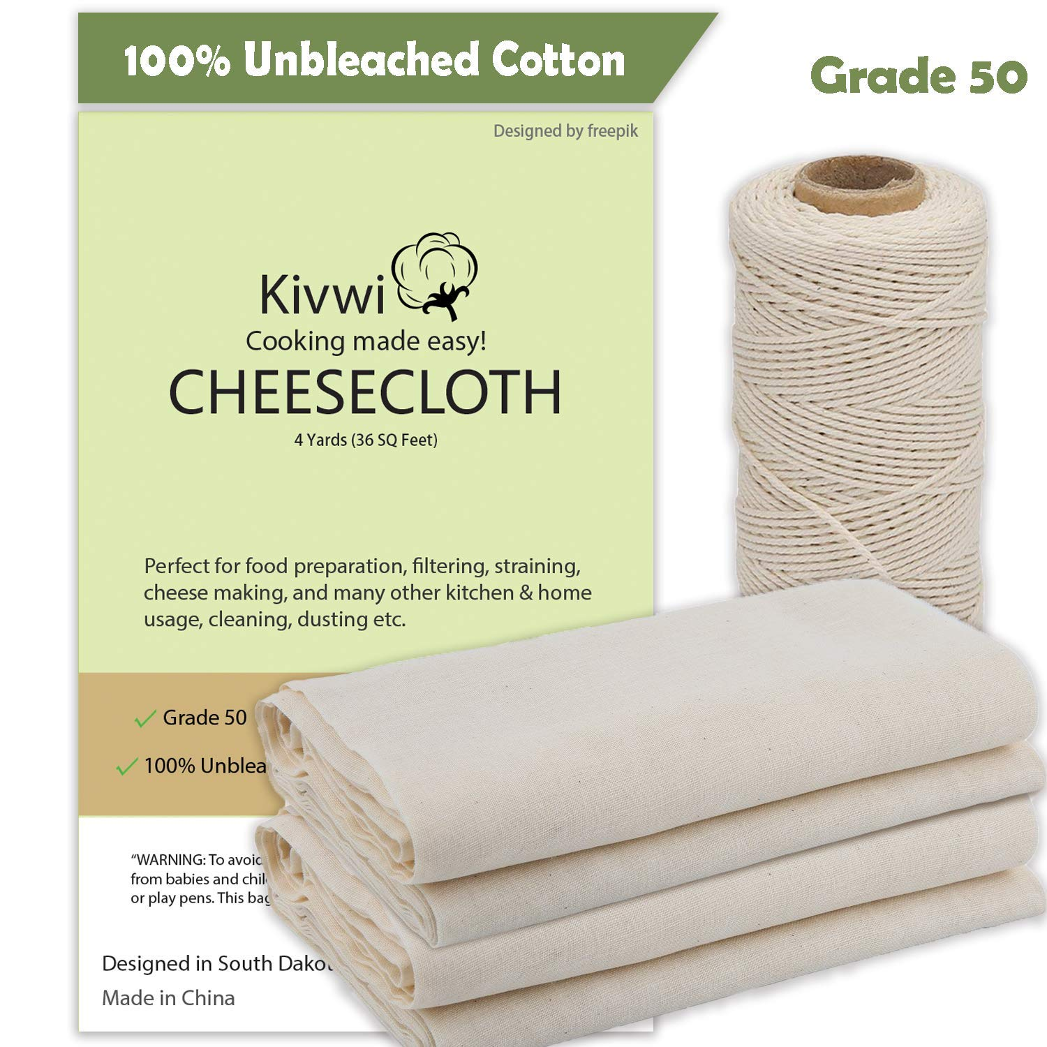 Cheesecloth, Grade 50, 36 Sq Feet, Reusable, 100% Unbleached Cotton Fabric, Ultra Fine Cheesecloth for Cooking - Nut Milk Bag, Strainer, Filter (Grade 50-4Yards) (Cotton, Grade 50 with cooking twine)