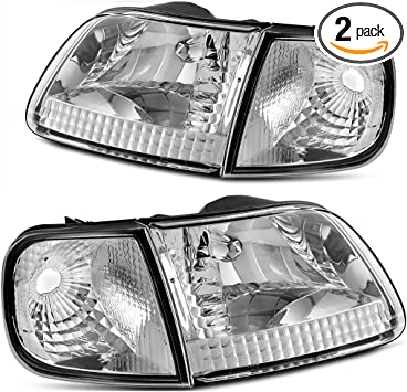 For 1997-2003 Ford F-150 F-250 Expedition Euro Headlights Chrome Clear Lens