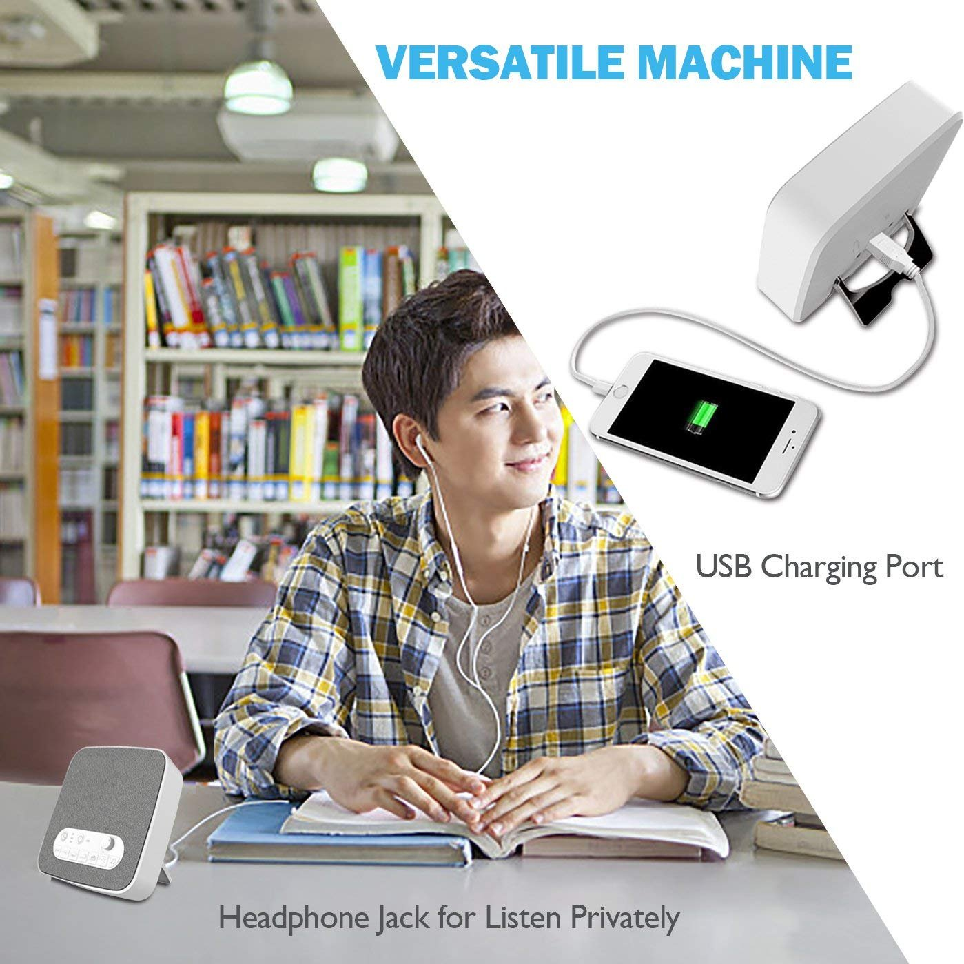 White Noise Machine for Sleeping, BESTHING Sleep Sound Machine with Non-Looping Soothing Sounds for Baby Adult Traveler, Portable for Home Office Travel. Built in USB Output Charger & Timer. by BESTHING (Image #6)