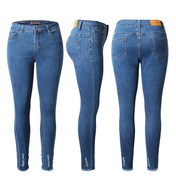 Pantalones vaqueros elásticos de cintura alta elásticos ...