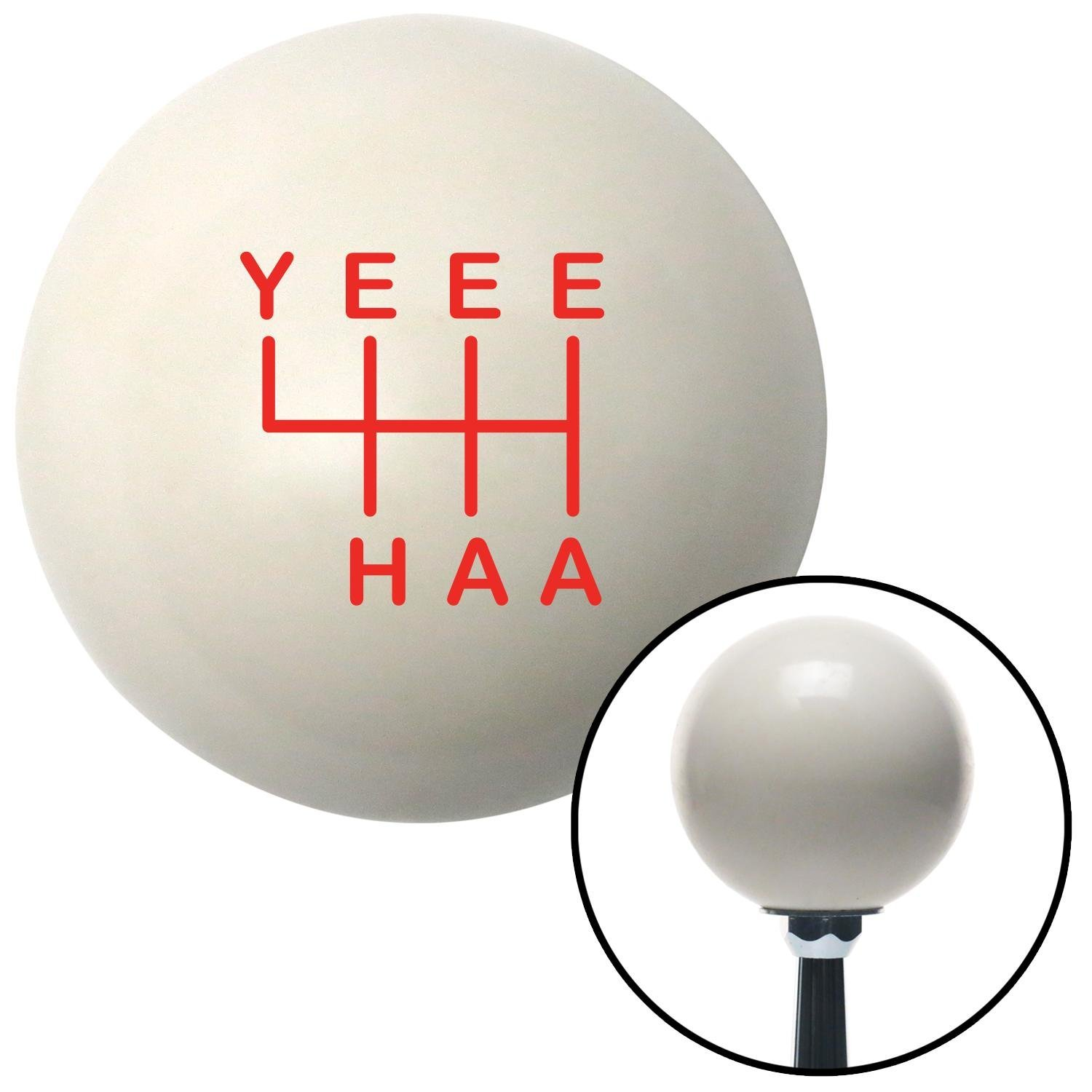 American Shifter 301313 Shift Knob Red YeeeHaa 6 Speed Ivory