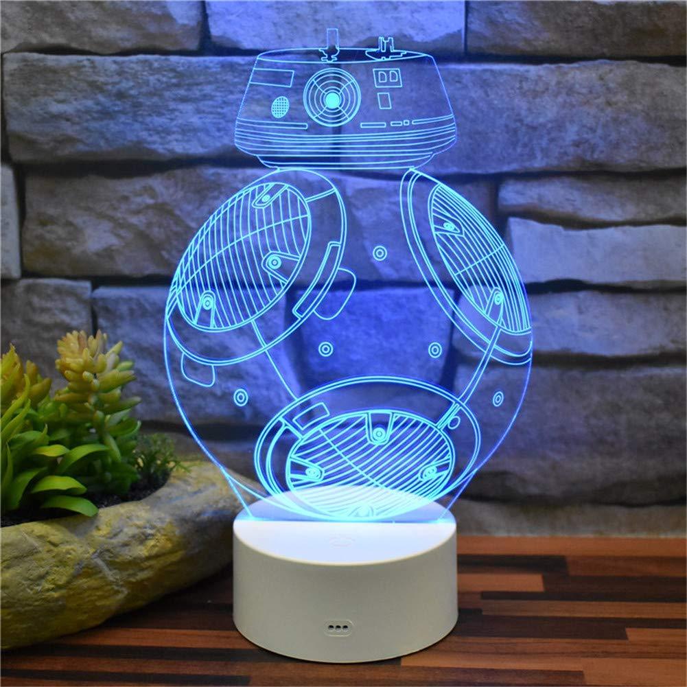 3D dekoratives Nachtlicht 3D Stereovision Nachtlicht Star Wars Roboter BB-9E Acryl LED Tischlampe Raumdekoration Licht Fernbedienung 16 Farbwechsel mit USB-Kabel   ABS Basis Kreatives Modell Kinder Sp