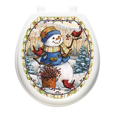 Toilet Tattoos TT-X620-R 12 Days of Christmas Decorative Applique For Toilet Lid Round