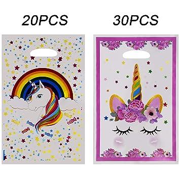 SAVITA 30 Pack Bolsas de Regalo de plástico Unicornio Bolsas de Regalo para cumpleaños / Baby Shower / Favores de Fiesta, 2 Estilos
