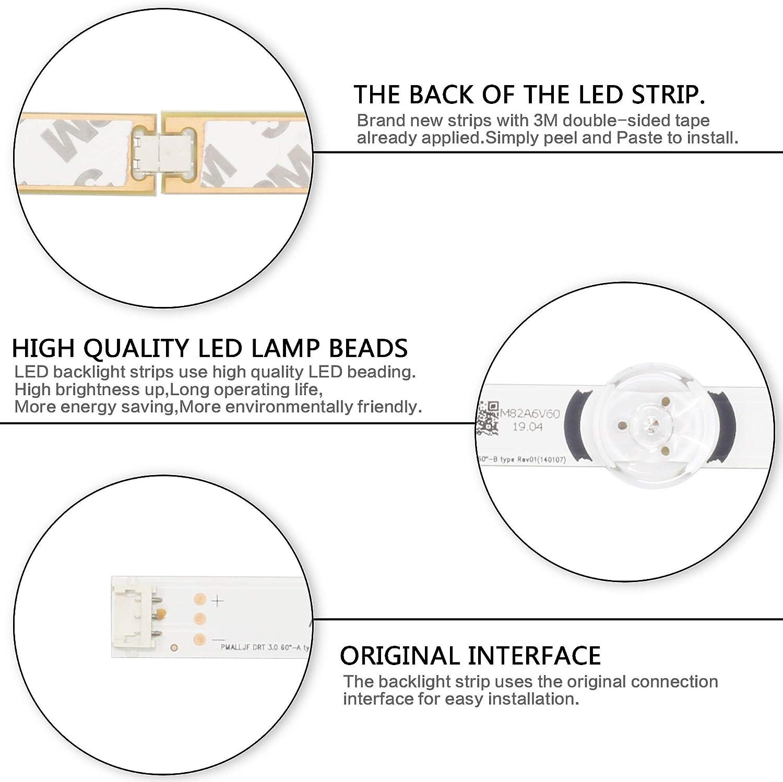 Calvas 12 PCS//Set LED Backlight Strip for LG TV 60GB6580 LC600DUF innotek DRT 3.0 60 inch A B 6916L-1720A 6916L-1721A 6916L-1976A 1977A
