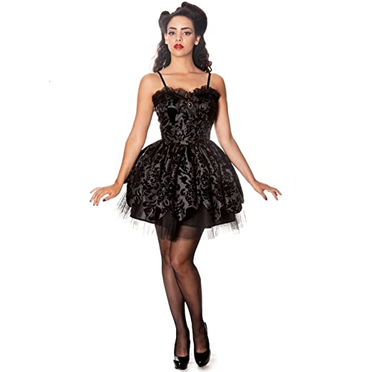 Hell Bunny Black Damask Petal Gothic Victorian Steampunk Mini Party Prom Dress 8 XS: Amazon.co.uk: Clothing