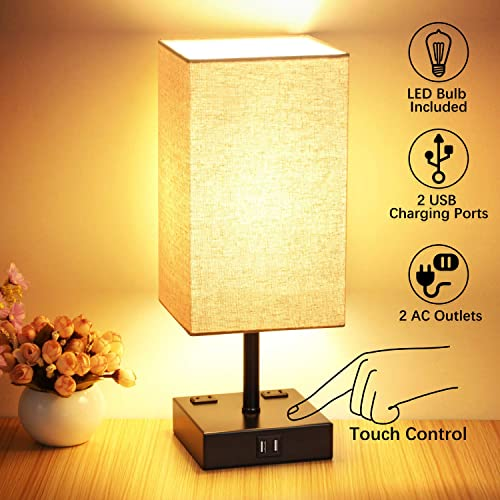 3-Way Dimmable Touch Control Table Lamp, 2 Quick USB Charging Ports, Bedside Nightstand Lamps with 2 AC Outlets, Super Bright E26 LED Bulbs Included, Modern Lamp for Bedroom Living Room Office Black