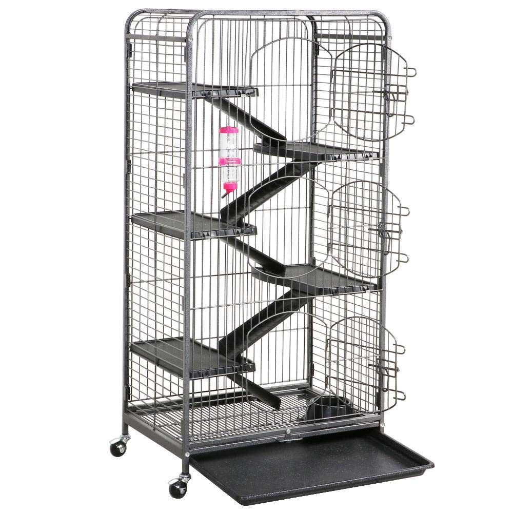 Topeakmart 52'' Large Ferret Rabbit Cage 5-Level Indoor Hutch Cage w/Wheel & 3 Front Doors Black