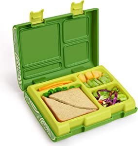 Bento Box for Kids, Lunch Containers with 4 Compartments for Meal and Snack Packing, Removable Tray Microwave/Dishwasher Safe, Leakproof Food-Safe Materials for Ages 3 to 14 - Lemon