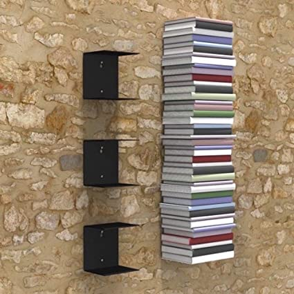 DreamKraft Metal Invisible Wall Mounted Book Shelfs (Black, 3)