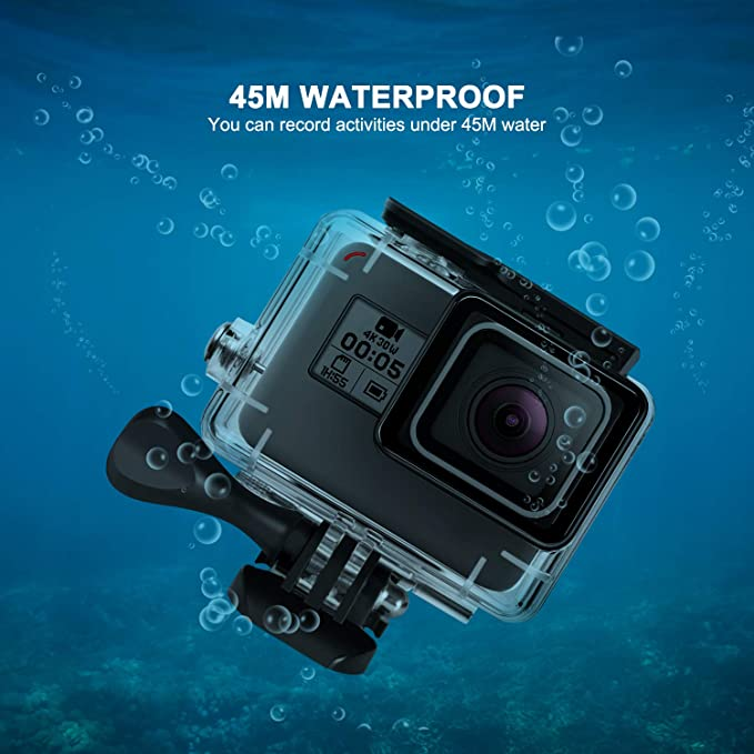 Waterproof Case for GoPro Hero 7 Black Hero 6 Hero 5 Hero 2018 45M Rhodesy Underwater Housing with Bracket Accessories for GoPro Hero7 Hero6 Hero5 ...