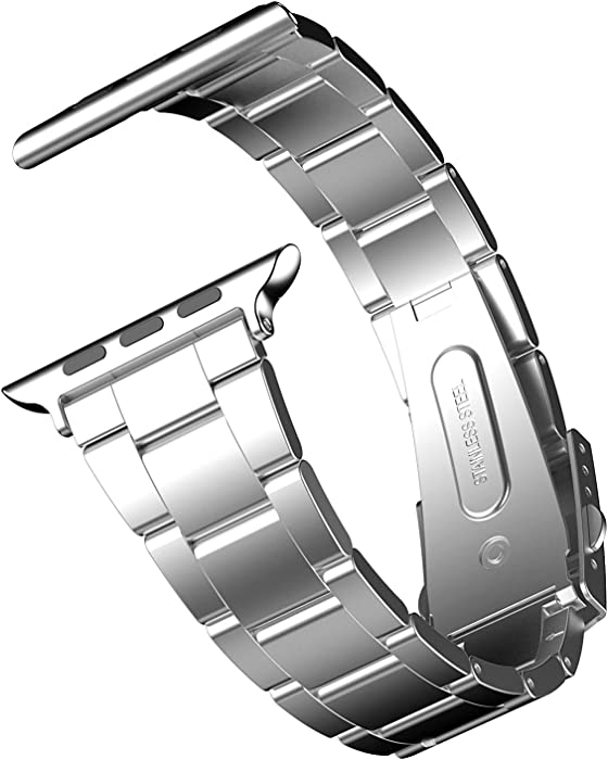 JETech Replacement Band Strap for Apple Watch 38mm and 40mm, Stainless Steel, Silver