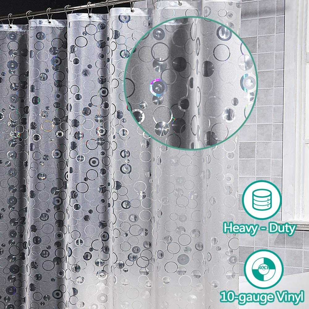 ARICHOMY Shower Curtain Liner 10 Gauge Heavy Duty Liner Waterproof 72x72 Inches EVA Liner for Shower Stall, Bathtubs, 3D Pebble Pattern Circles(PVC Free)