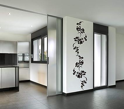 wandmotiv24 Wandtattoo Blumenranke Hibiskus Wandaufkleber modern,  Dekoration für Ihre Wohnung, Wohnzimmer-Deko Blume, Wanddeko (Größe HxB:  175 x 37 ...