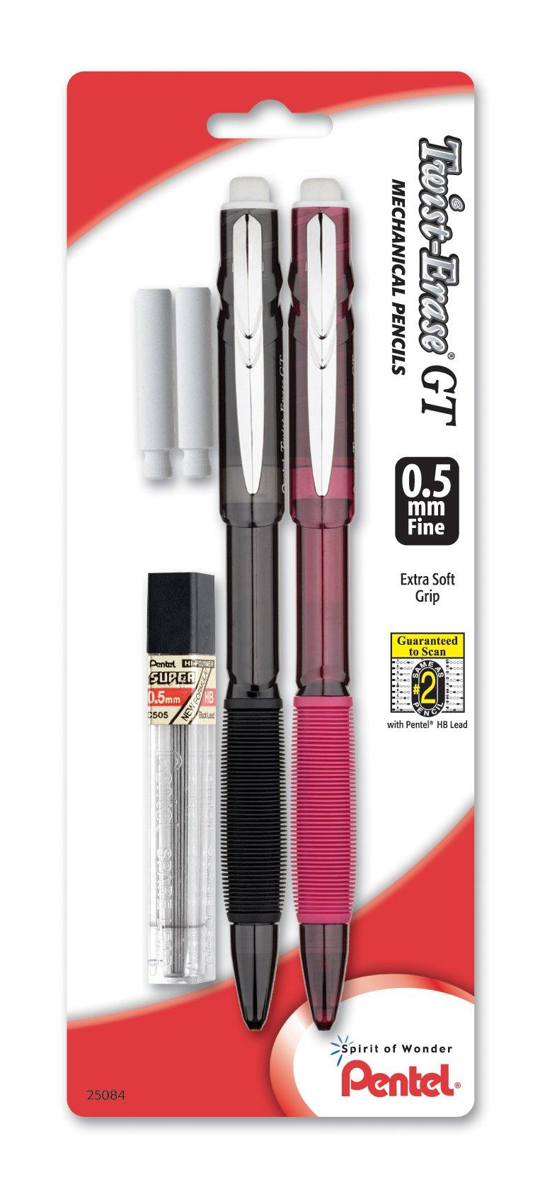 Pentel Twist-Erase GT (0.5mm) Lapiz Mecanico, Lead, 2 Era...