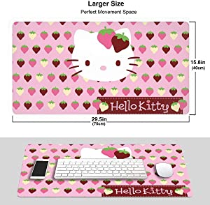 Cute Hello Kitty Strawberry 3mm Extended Gaming Mouse Pad Computer Keyboard Mousepad Mouse Mat for Desktop/Laptop/Keyboard/Consoles