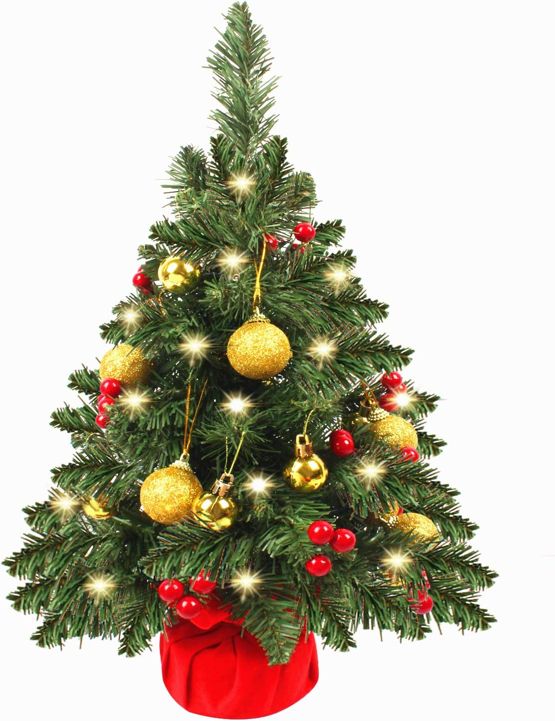 UMARDOO 21in Prelit Tabletop Christmas Tree,Small Desk Christmas Tree with Lights,Holly Berries,Ornaments Balls for Holiday Season Decorations