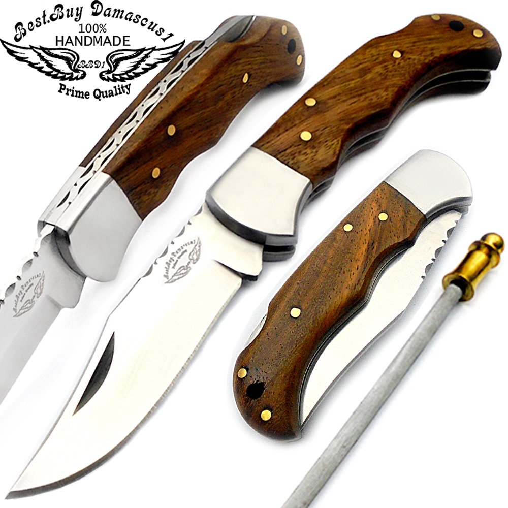 Best.Buy.Damascus1 Rose Wood 6.5'' Handmade Stainless Steel Folding Pocket Knife with Sharpening Rod & with Back Lock 100% Prime Quality by Best.Buy.Damascus1