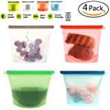 Silicone Food Bag, Reusable Airtight Seal Food Storage Container Reusale Freezer Leak-Proof Cooking Ziploc Bag Versatile Kitchen Utensil Set Of 4 Pcs for Freeze, Steam, Heat, Microwave