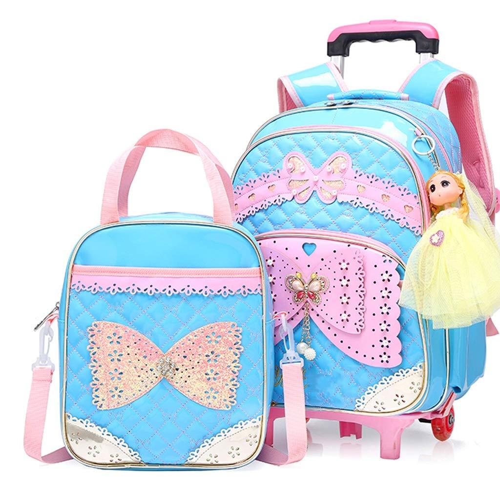 OaLt-t Rucksack Cute Bow School Trolley-Tasche Cute Princess Style Rädern-Trolley-Tasche Rädern rollender Rucksack (Farbe   Rot, größe   Six Rounds) Blau Six rounds